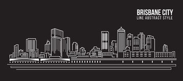 Cityscape Building Line art Vector Illustration design - Brisbane City Royalty Free Stock Photos