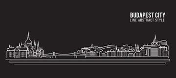Cityscape Building Line art Vector Illustration design - Budapest city Stock Photo