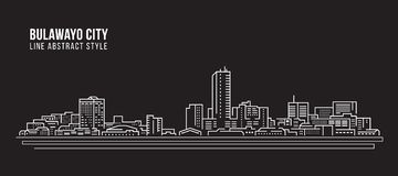 Cityscape Building Line art Vector Illustration design - Bulawayo city Royalty Free Stock Image