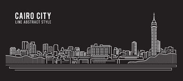 Cityscape Building Line art Vector Illustration design - Cairo city Royalty Free Stock Photo