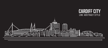 Cityscape Building Line art Vector Illustration design - Cardiff city Stock Photography