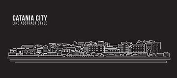 Cityscape Building Line art Vector Illustration design - Catania city Royalty Free Stock Photography