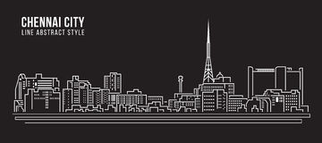 Cityscape Building Line art Vector Illustration design - Chennai city Royalty Free Stock Photo