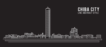 Cityscape Building Line art Vector Illustration design - Chiba city Royalty Free Stock Image