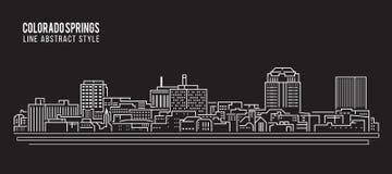 Cityscape Building Line art Vector Illustration design - Colorado springs city Royalty Free Stock Photos