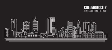 Cityscape Building Line art Vector Illustration design - Columbus city Royalty Free Stock Photos
