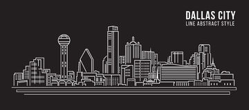 Cityscape Building Line art Vector Illustration design - Dallas City Stock Images