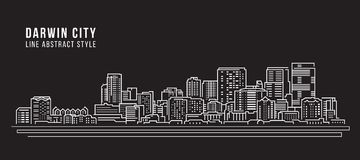 Cityscape Building Line art Vector Illustration design - Darwin city Stock Photos