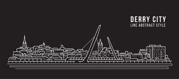Cityscape Building Line art Vector Illustration design -  Derry city stock image