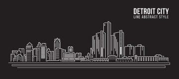 Cityscape Building Line art Vector Illustration design - detroit city Royalty Free Stock Photo