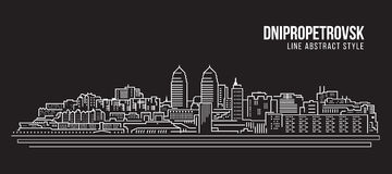 Cityscape Building Line art Vector Illustration design - Dnipropetrovsk city Royalty Free Stock Image