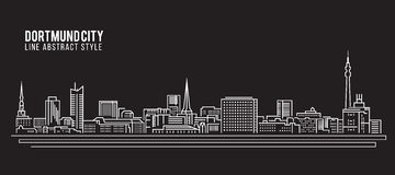 Cityscape Building Line art Vector Illustration design - Dortmund city Royalty Free Stock Photo