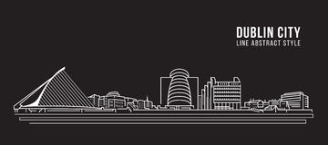Cityscape Building Line art Vector Illustration design -  Dublin city Royalty Free Stock Photos