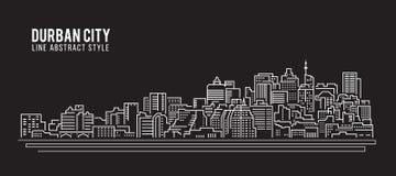 Cityscape Building Line art Vector Illustration design - Durban city Royalty Free Stock Image