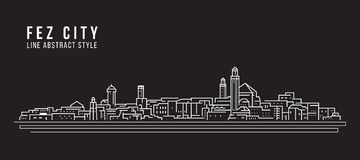 Cityscape Building Line art Vector Illustration design - Fez city Royalty Free Stock Photo