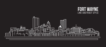Cityscape Building Line art Vector Illustration design - Fort Wayne city Stock Photo