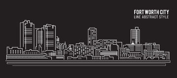 Cityscape Building Line art Vector Illustration design - Fort worth city Stock Image