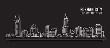 Cityscape Building Line art Vector Illustration design - Foshan city vector illustration