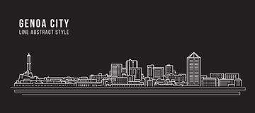 Cityscape Building Line art Vector Illustration design - Genoa city Stock Images