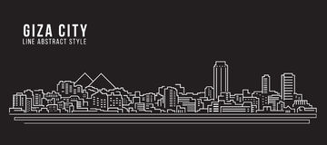 Cityscape Building Line art Vector Illustration design - Giza city Stock Photo