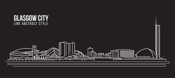 Cityscape Building Line art Vector Illustration design - Glasgow city Stock Photo