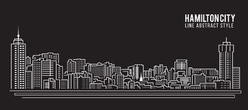 Cityscape Building Line art Vector Illustration design - Hamilton city Royalty Free Stock Photography
