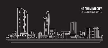 Cityscape Building Line art Vector Illustration design - Ho Chi Minh city Royalty Free Stock Photos