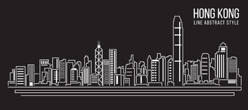 Cityscape Building Line art Vector Illustration design (Hong kong city ) Stock Images