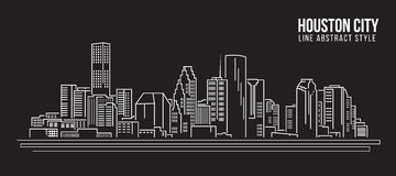 Cityscape Building Line art Vector Illustration design - Houston city Stock Photos
