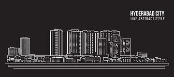 Cityscape Building Line art Vector Illustration design - Hyderabad city Royalty Free Stock Photo
