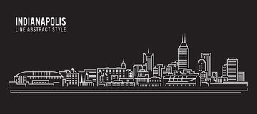 Cityscape Building Line art Vector Illustration design - Indianapolis city Royalty Free Stock Images