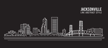 Cityscape Building Line art Vector Illustration design - jacksonville city Stock Photography