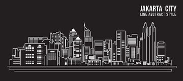Cityscape Building Line art Vector Illustration design - Jakarta city Stock Images