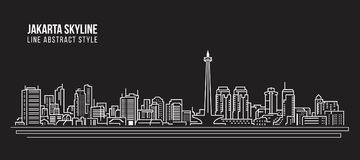 Cityscape Building Line art Vector Illustration design - Jakarta city skyline Stock Photo