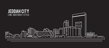 Cityscape Building Line art Vector Illustration design - Jeddah city vector illustration