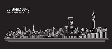 Cityscape Building Line art Vector Illustration design - Johannesburg City Royalty Free Stock Photo