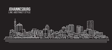 Cityscape Building Line art Vector Illustration design - johannesburg skyline Stock Image