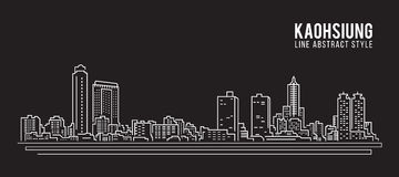 Cityscape Building Line art Vector Illustration design - Kaohsiung city stock illustration