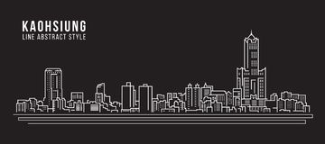 Cityscape Building Line art Vector Illustration design - Kaohsiung city royalty free illustration