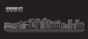 Cityscape Building Line art Vector Illustration design - Kemerovo city Stock Images