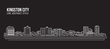 Cityscape Building Line art Vector Illustration design - Kingston city jamaica Stock Images