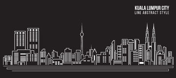 Cityscape Building Line art Vector Illustration design - Kuala Lumpur city Royalty Free Stock Photo