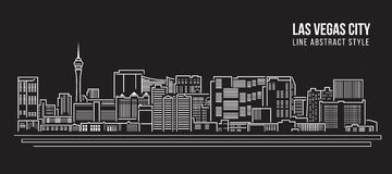 Cityscape Building Line art Vector Illustration design - Las Vegas city Royalty Free Stock Images