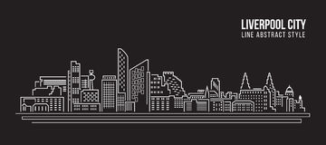 Cityscape Building Line art Vector Illustration design - Liverpool city Royalty Free Stock Images