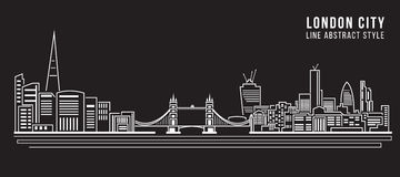 Cityscape Building Line art Vector Illustration design - London city Royalty Free Stock Photo
