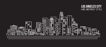 Cityscape Building Line art Vector Illustration design - Los Angeles City Royalty Free Stock Photo