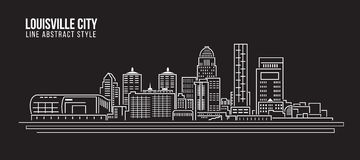 Cityscape Building Line art Vector Illustration design - Louisville City Royalty Free Stock Images
