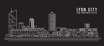Cityscape Building Line art Vector Illustration design - Lyon city Royalty Free Stock Photography