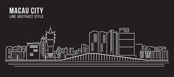 Cityscape Building Line art Vector Illustration design - Macau city Royalty Free Stock Images