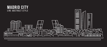 Cityscape Building Line art Vector Illustration design - Madrid city Royalty Free Stock Images